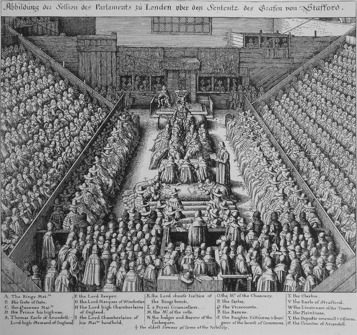 The Trial of the Earl of Strafford engraved by Wencelaus Hollar member of the Basing House garrison from 1643 to the Storming on 14th October 1645: Siege of Basing House 1642 to 1645 during the English Civil War
