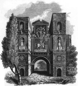 Aldersgate in London where Robert Peake, William Faithorne and Wencelaus Hollar were imprisoned after the Storming of Basing House in 1645: Siege of Basing House 1642 to 1645 during the English Civil War: engraving by Wencelaus Hollar: click here to buy this picture
