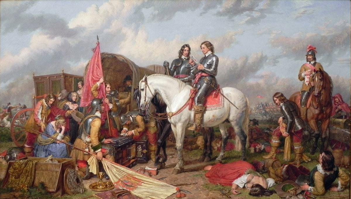Cromwell after the Battle of Naseby 14th June 1645 during the English Civil War: picture by Charles Landseer