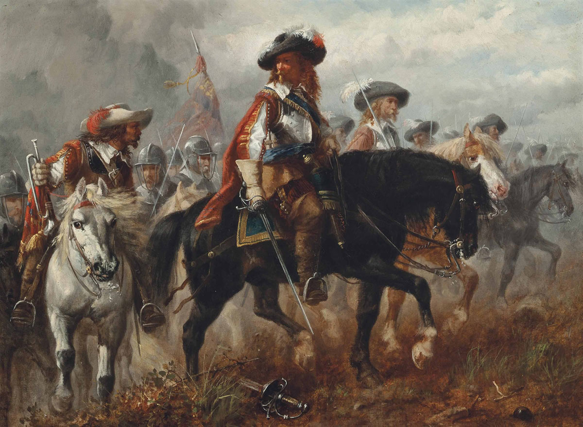 King Charles I and Prince Rupert before the Battle of Naseby 14th June 1645 during the English Civil War