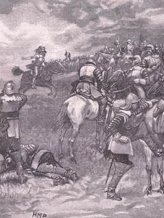 King Charles I at the Battle of Naseby 14th June 1645 during the English Civil War: picture by Henry Marriott Page: click here to buy this picture
