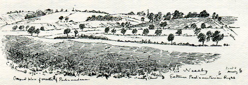 Battlefield of the Battle of Naseby 14th June 1645 during the English Civil War: drawing by C.R.B. Barrett