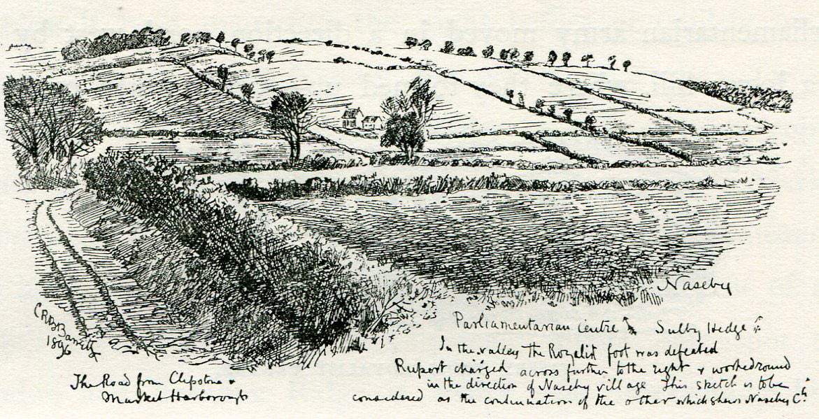 Battlefield of the Battle of Naseby 14th June 1645 during the English Civil War showing the Sulby Hedges: drawing by C.R.B. Barrett