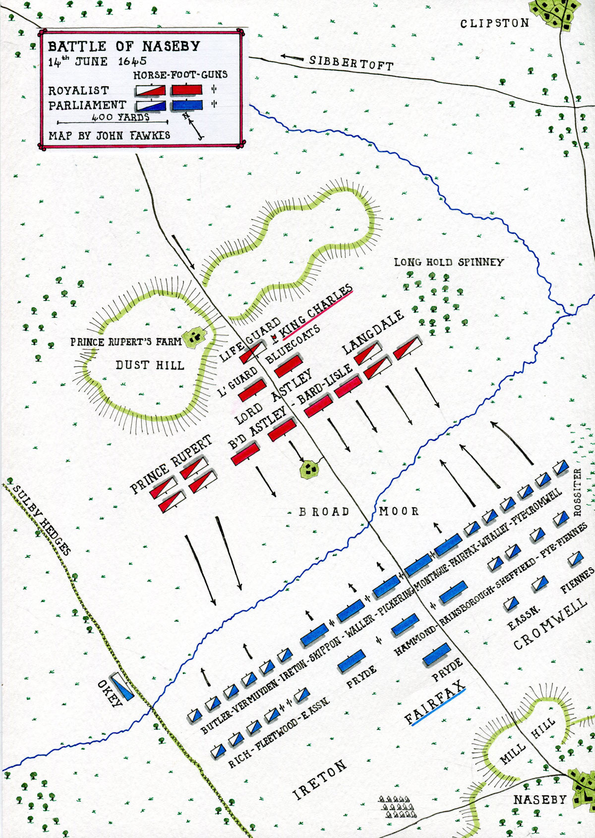 Map of the Battle of Naseby 14th June 1645 during the English Civil War: map by John Fawkes