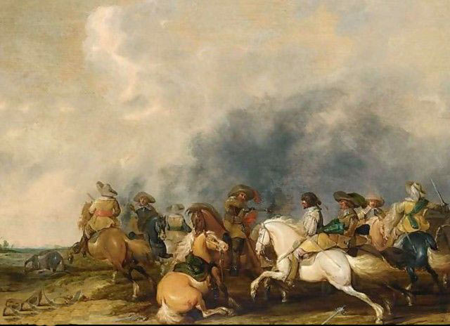 Cavalry battle: Battle of Chalgrove 18th June 1643 in the English Civil War: picture by Palamades Palamadesz
