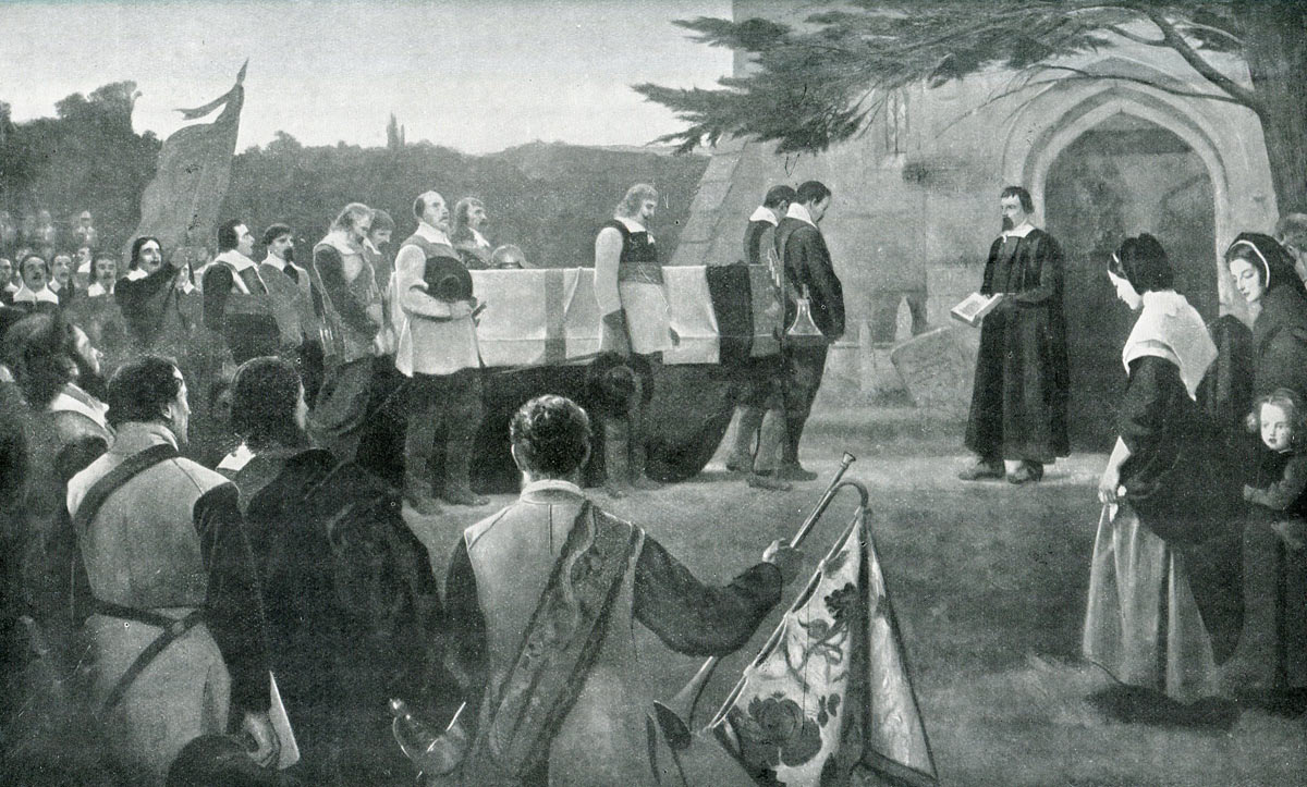 Funeral of John Hampden mortally wounded at the Battle of Chalgrove 18th June 1643 in the English Civil War