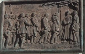 Funeral of John Hampden from his statue in Aylesbury: Battle of Chalgrove 18th June 1643 in the English Civil War