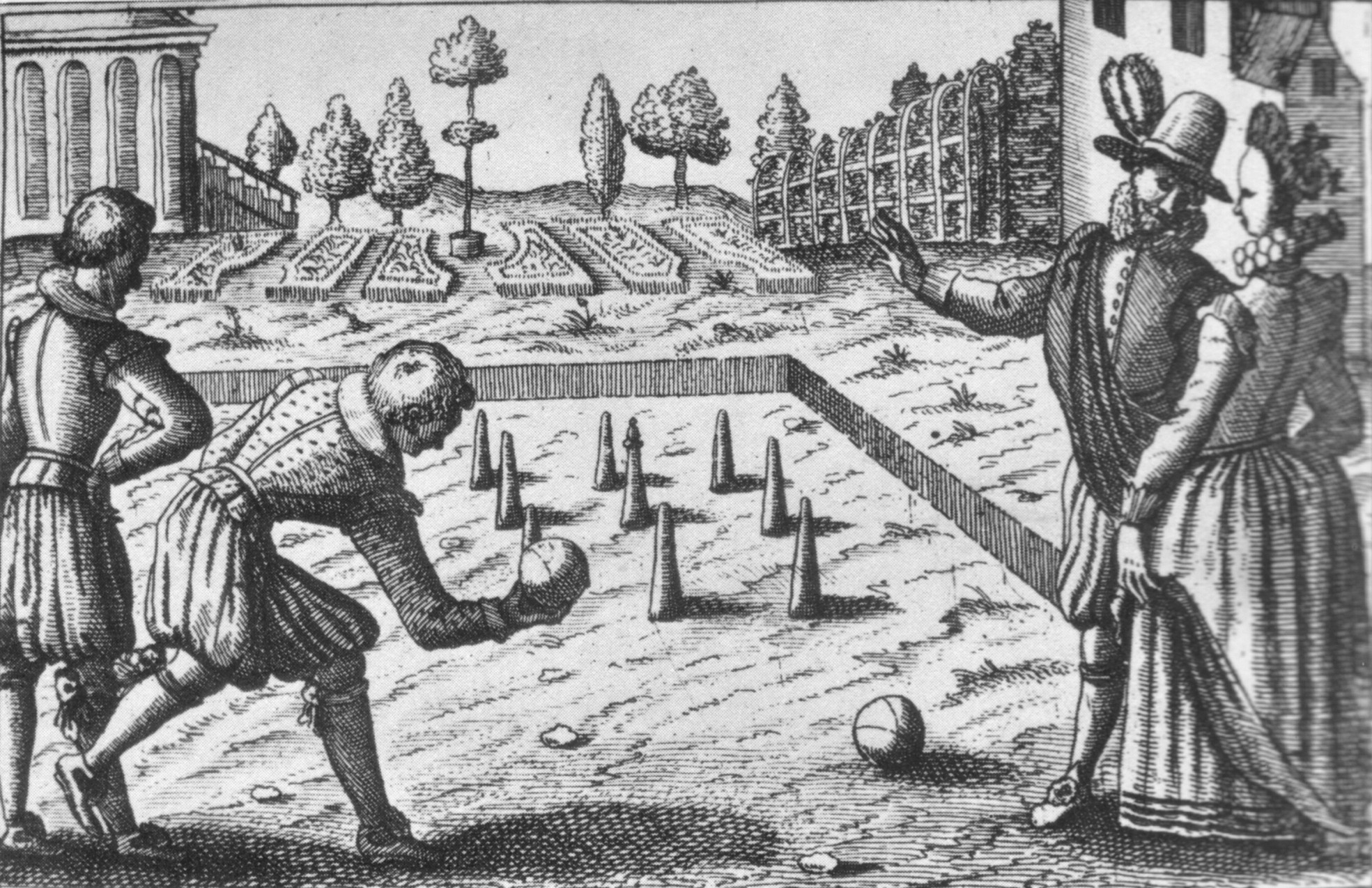 Woodcut of bowling in the 16th Century: Battle of Wakefield 20th May 1643 in the English Civil War