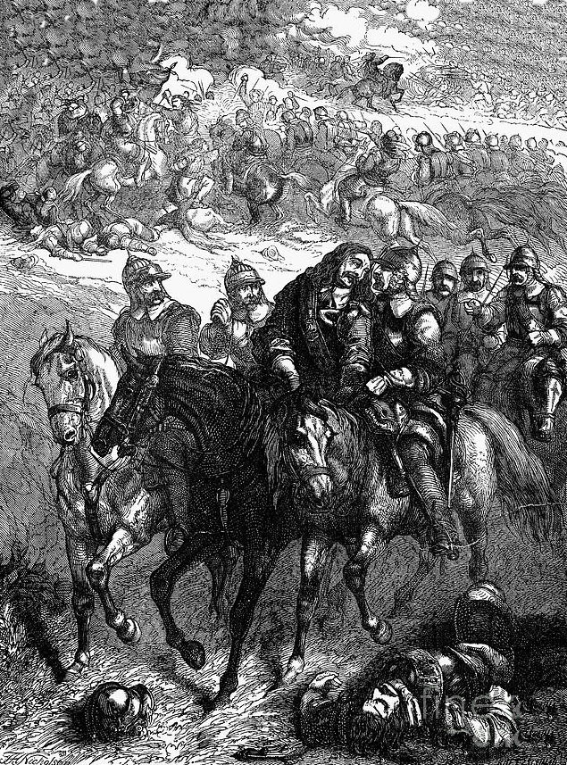 Mortal wounding of John Hampden: Battle of Chalgrove 18th June 1643 in the English Civil War