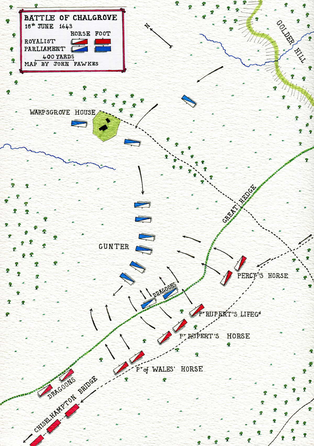 Map of the Battle of Chalgrove 18th June 1643 in the English Civil War: map by John Fawkes