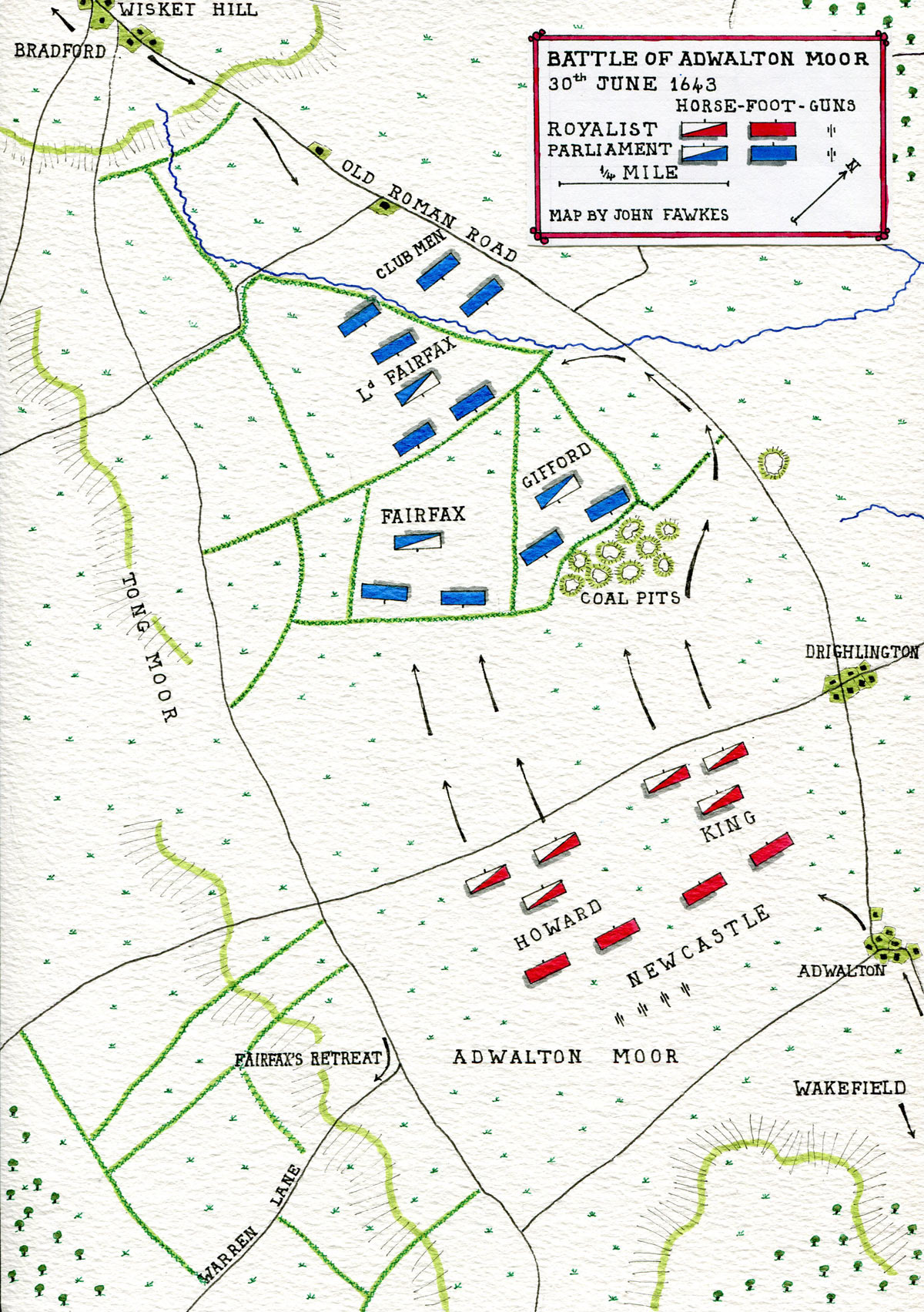 Map of the Battle of Adwalton Moor 30th June 1643 during the English Civil War: map by John Fawkes