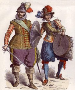 Royalist officer and drummer: Battle of Adwalton Moor 30th June 1643 during the English Civil War