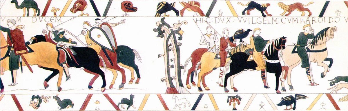 Bayeux Tapestry 10: Harold is taken to Rouen where he is received by William Duke of Normandy: click here to buy a print from the Bayeux Tapestry