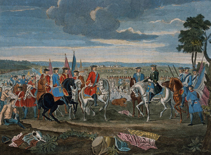 Surrender of Marshal Tallard at the Battle of Blenheim 2nd August 1704 in the War of the Spanish Succession: click here to buy this picture