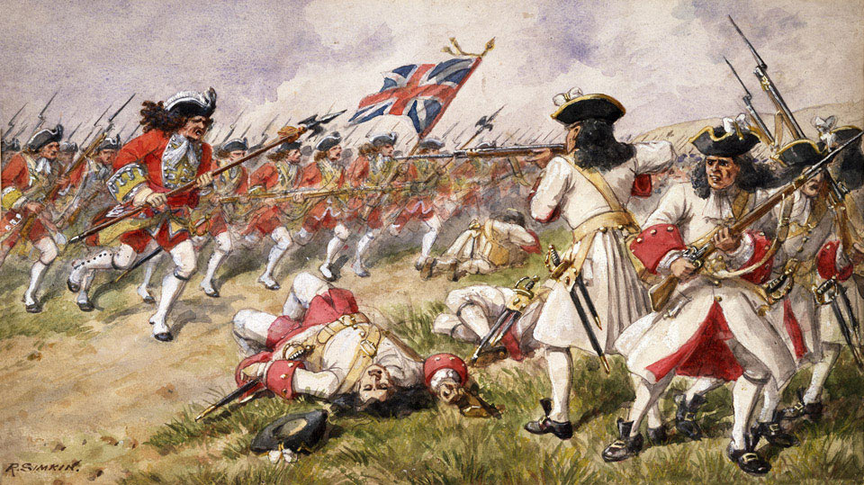 British 16th Foot charging at the Battle of Ramillies 12th May 1706 in the War of the Spanish Succession: picture by Richard Simkin: click here to buy this picture