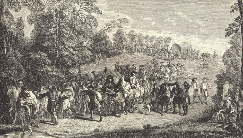 French Infantry on the march: Battle of Blenheim 2nd August 1704 in the War of the Spanish Succession: print after Jean Anthoine Watteau: click here to buy this picture