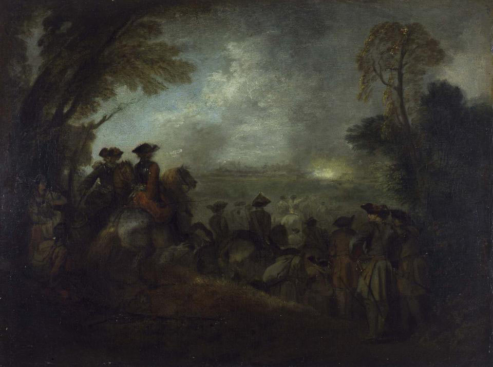 French cavalry on the march at night: Battle of Malplaquet 11th September 1709 War of the Spanish Succession: picture by Jean Anthoine Watteau