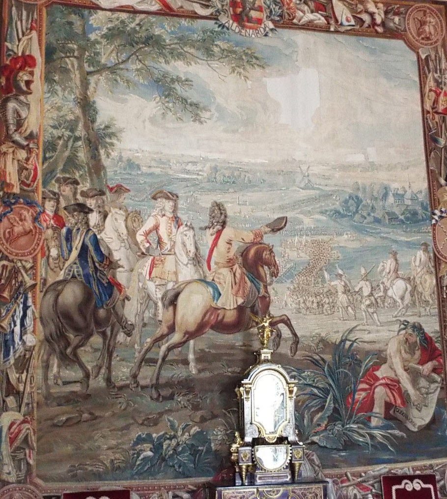 Duke of Marlborough at the Battle of Oudenarde 30th June 1708 in the War of the Spanish Succession: Blenheim Palace Tapestry: click here to buy this picture