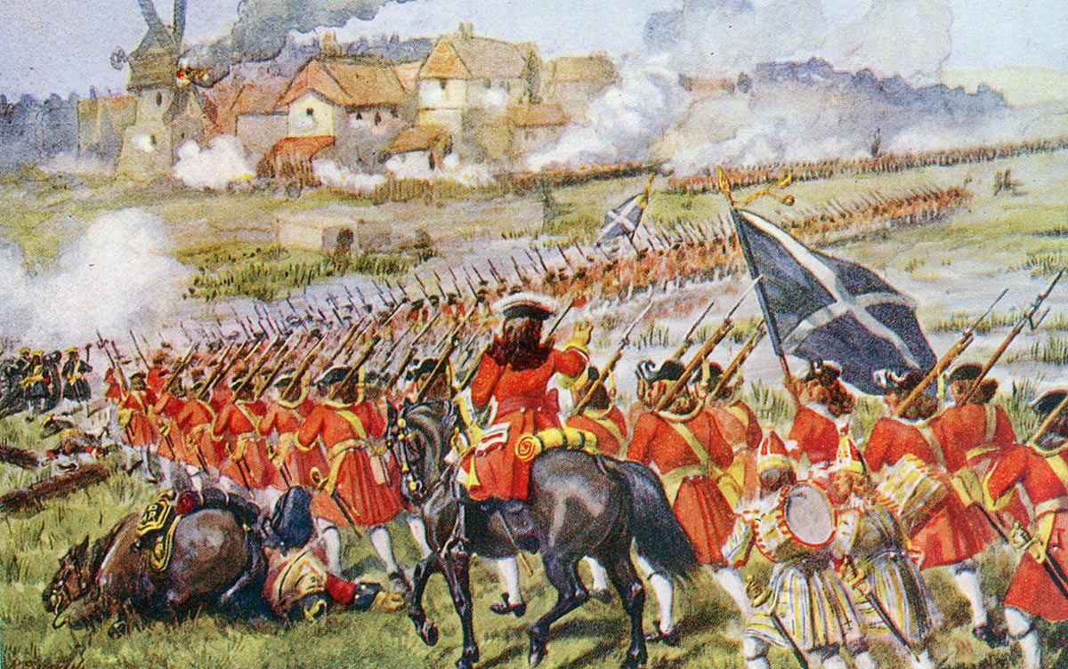 26th Foot 'the Cameronians' advance to attack Blenheim: Battle of Blenheim 2nd August 1704 in the War of the Spanish Succession