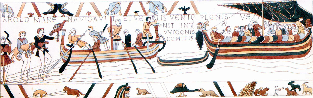Bayeux Tapestry 3: Harold crosses the Channel and is made prisoner by Guy Count of Ponthieu: click here to buy a print of the Bayeux Tapestry