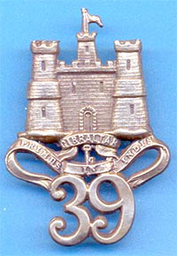 Badge of the 39th Foot with the motto 'Primus in India': Battle of Plassey 23rd June 1757 in the Anglo-French Wars in India