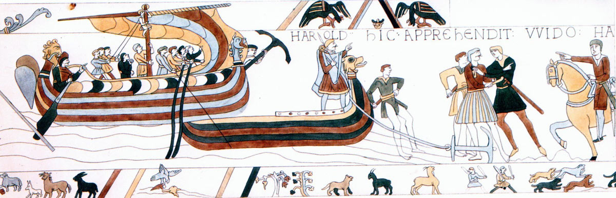 Bayeux Tapestry 4: Harold crosses the Channel and is made prisoner by Guy Count of Ponthieu: click here to buy a print of the Bayeux Tapestry
