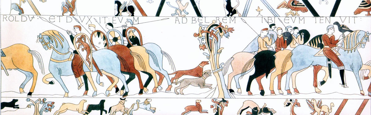 Bayeux Tapestry 5: Harold is taken before Guy Count of Ponthieu at Beaurain: click here to buy a print from the Bayeux Tapestry