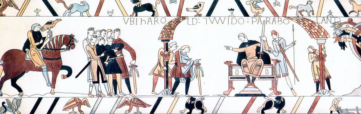 Bayeux Tapestry 6: Harold is taken before Guy Count of Ponthieu at Beaurain: click here to buy a print from the Bayeux Tapestry