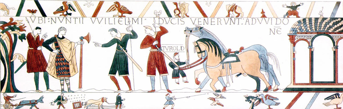 Bayeux Tapestry 7: William Duke of Normandy hears of Harold's capture: click here to buy a print from the Bayeux Tapestry