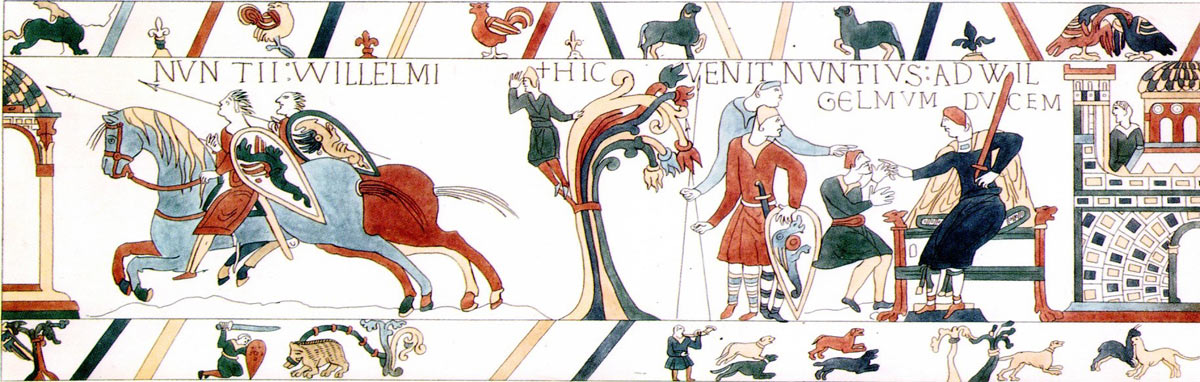 Bayeux Tapestry 8: William Duke of Normandy hears of Harold's capture: click here to buy a print from the Bayeux Tapestry