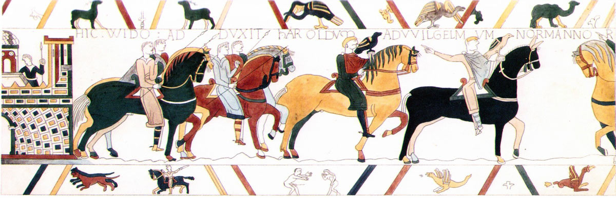Bayeux Tapestry 9: Harold is taken to Rouen where he is received by William Duke of Normandy: click here to buy a print from the Bayeux Tapestry