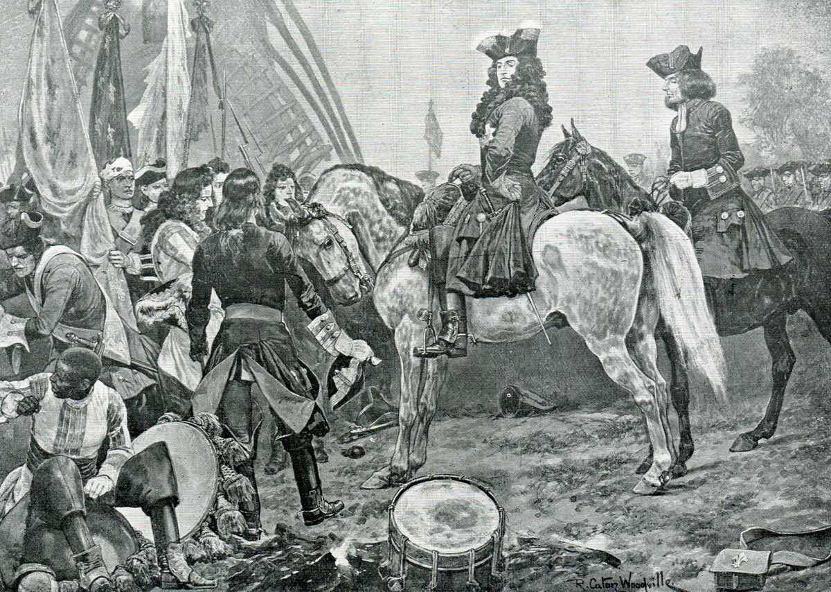 Duke of Marlborough accompanied by Dr Hare visiting French prisonners after the Battle of Oudenarde 30th June 1708 in the War of the Spanish Succession: picture by Richard Caton Woodville