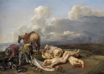 Aftermath of battle: Battle of Oudenarde 30th June 1708 in the War of the Spanish Succession: picture by van de Hecke