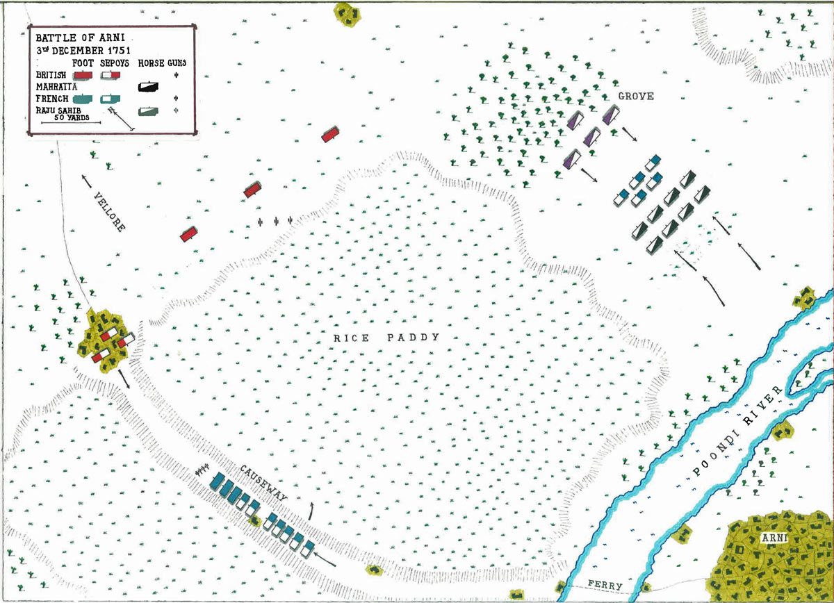 Map of the Battle of Arni on 3rd December 1751 in the Anglo-French Wars in India (Second Carnatic War): map by John Fawkes