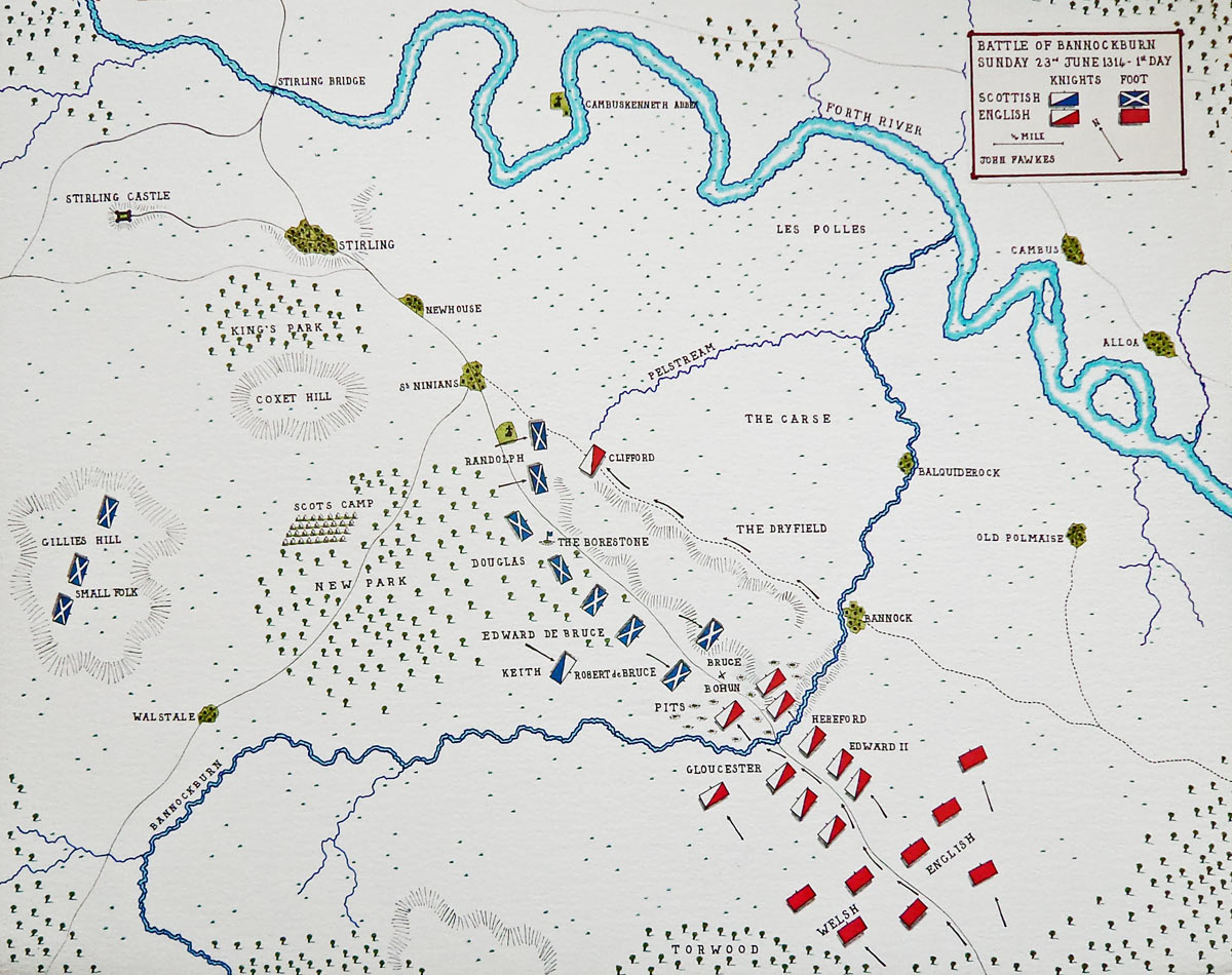 Map of the Battle of Bannockburn first day: 23rd June 1314: map by John Fawkes