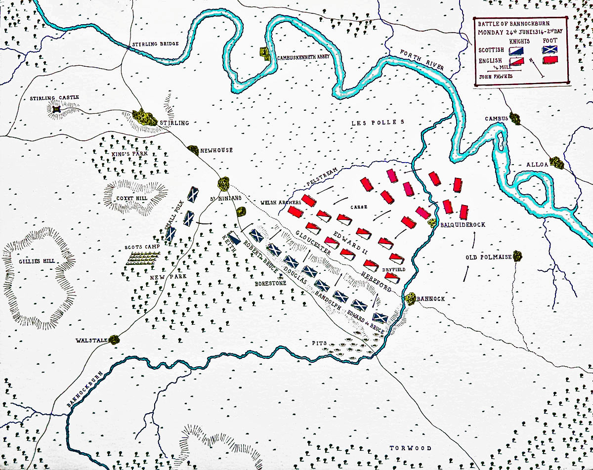 Map of the Battle of Bannockburn Second Day: 24th June 1314: map by John Fawkes