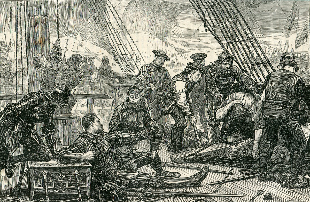The death of Sir Andrew Barton at sea in 1511; one of the grievances King James held against the English. Thomas Howard, the Lord Admiral of England, was responsible for defeat and death of Barton: Battle of Flodden 9th September 1513