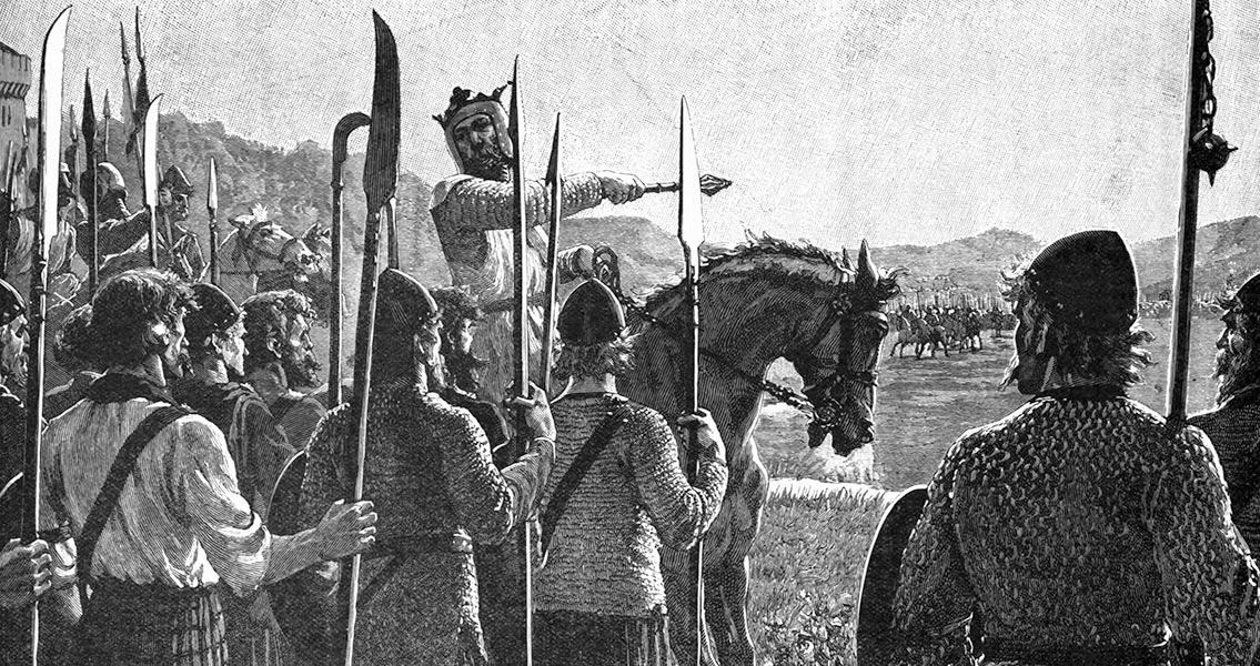 Robert de Bruce addresses his troops before the Battle of Bannockburn on 23rd June 1314: click here to buy this picture