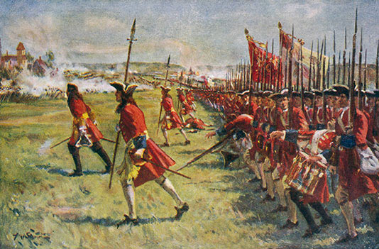 Brigadier Rose's brigade advances: Battle of Blenheim 2nd August 1704 in the War of the Spanish Succession: click here to buy this picture