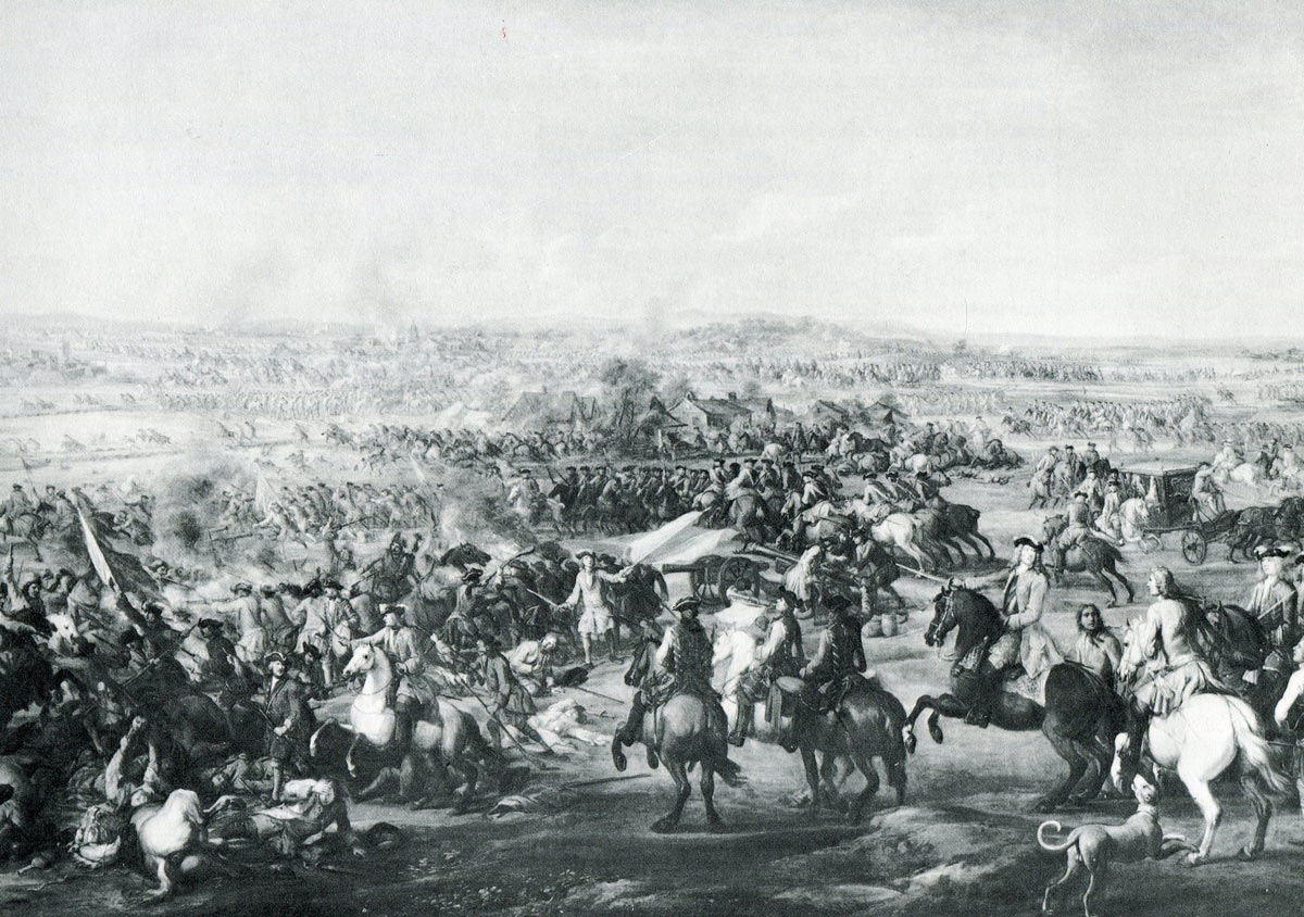 Marlborough's cavalry attacks: Battle of Blenheim 2nd August 1704 in the War of the Spanish Succession
