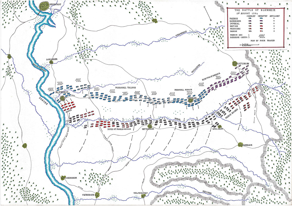Map of the Battle of Blenheim 2nd August 1704 in the War of the Spanish Succession: map by John Fawkes