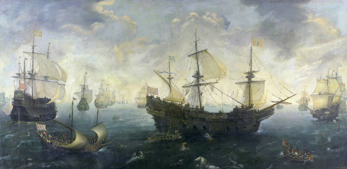 Spanish Armada off the English coast June 1588: picture by Cornelis Claesz Van Wieringen: click here to buy this picture