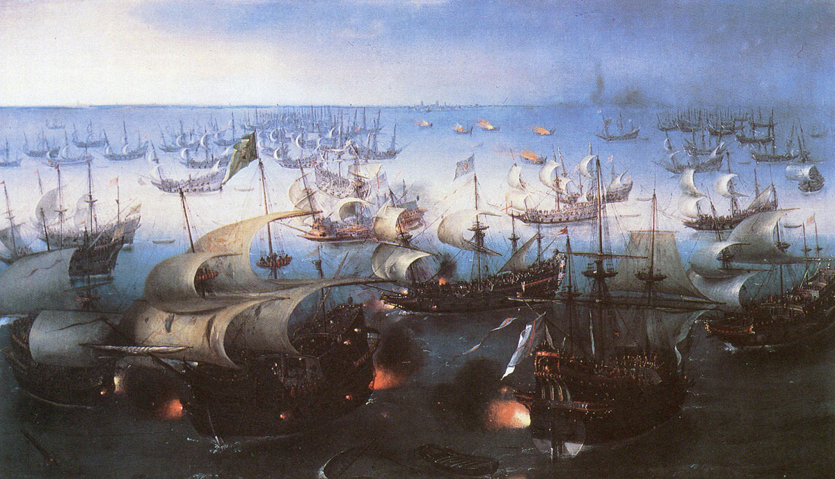 Spanish Armada June to September 1588: the decisive action off Calais; the English attack at midnight led by the eight fire ships that forced the Spanish to cut their cables and escape east up the Channel: click here to buy this picture
