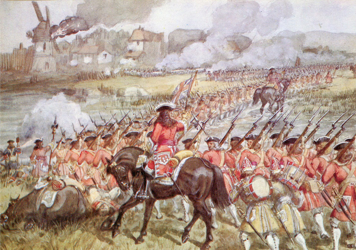 16th Foot advances to attack Blenheim: Battle of Blenheim 2nd August 1704 in the War of the Spanish Succession