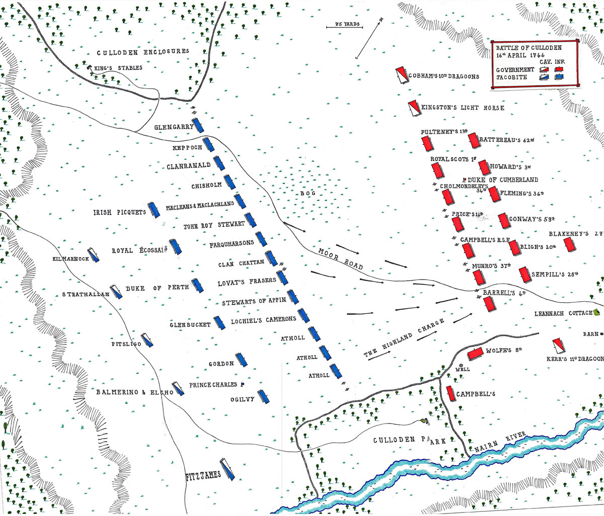 Map of the Battle of Culloden 16th April 1746 in the Jacobite Rebellion: map by John Fawkes
