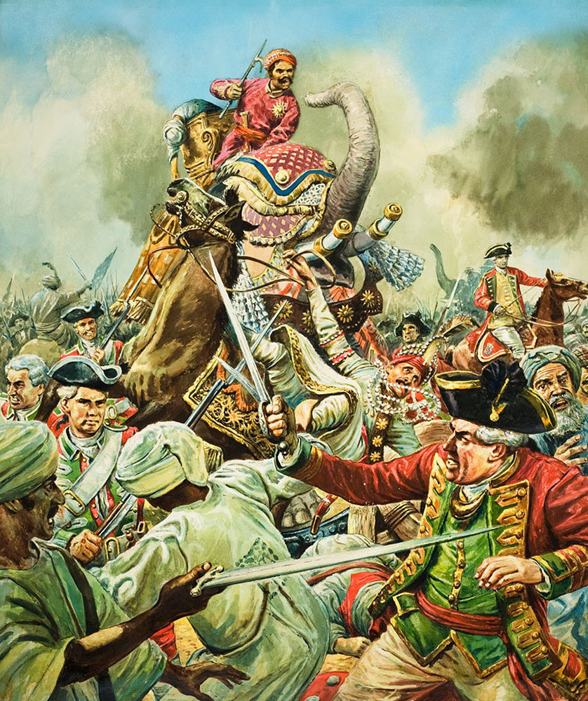 Siege of Arcot 31st August to 15th November 1751 in the War in India: picture by Cecil Doughty: click here to buy this picture