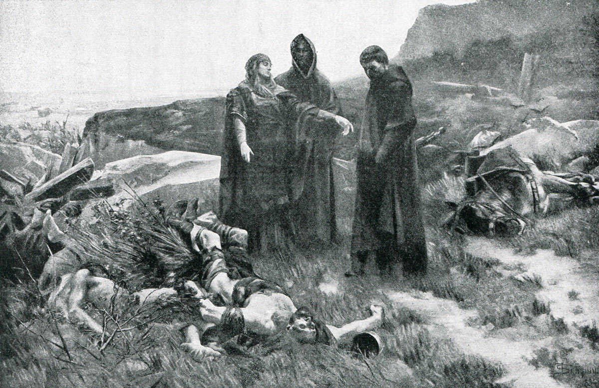 Edith Swan Neck discovers Harold's body after the Battle of Hastings on 14th October 1066 during the Norman Invasion: picture by Francois Schommer