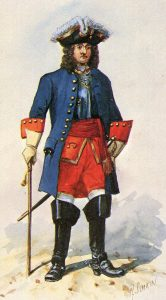British Engineer Officer: Battle of Blenheim 2nd August 1704 in the War of the Spanish Succession: picture by Richard Simkin