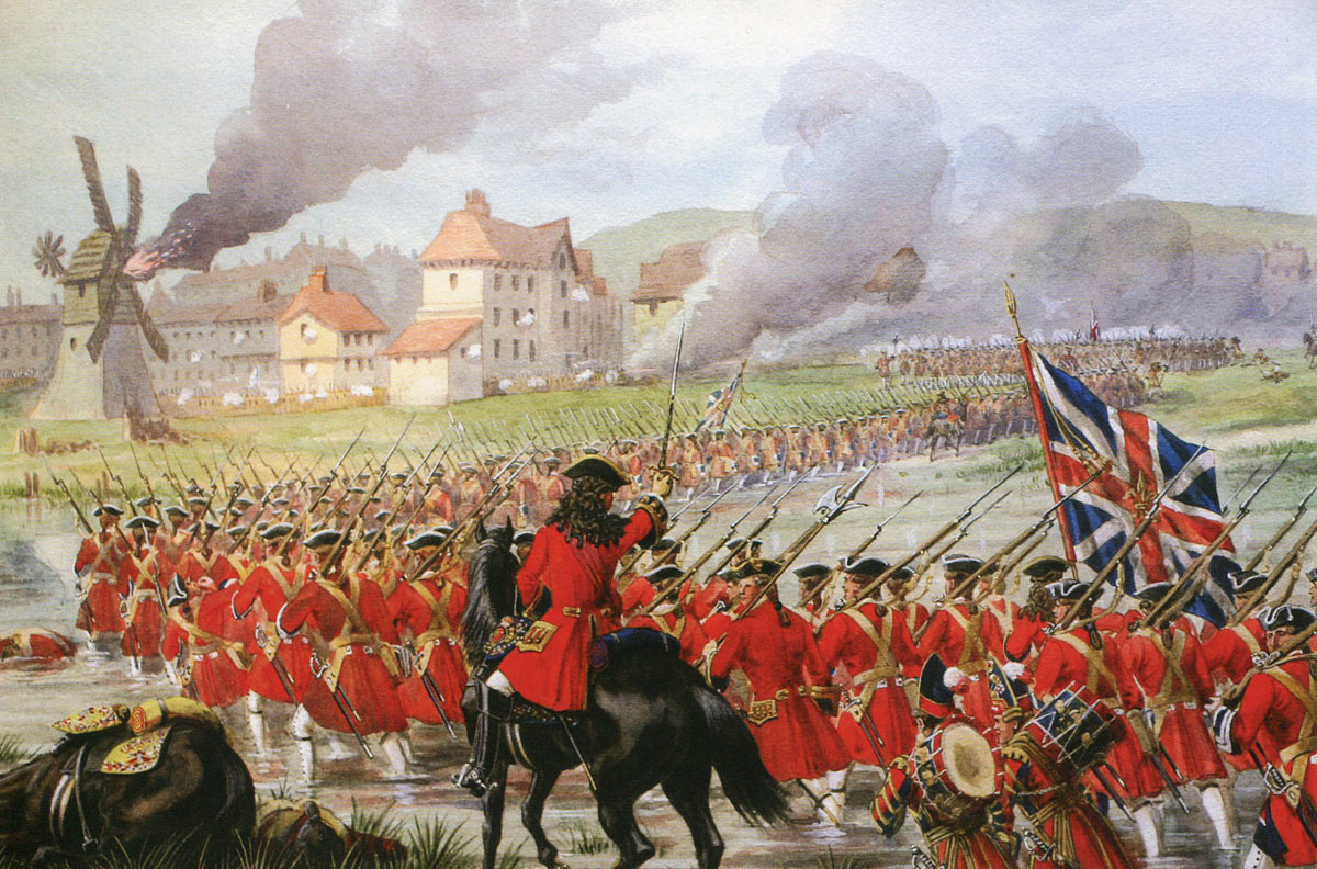 First Foot Guards advance to attack Blenheim: Battle of Blenheim 2nd August 1704 in the War of the Spanish Succession