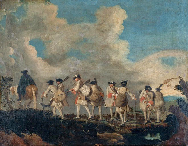 French soldiers marching to join their regiment: Battle of Blenheim 2nd August 1704 in the War of the Spanish Succession: picture by Jean Anthoine Watteau